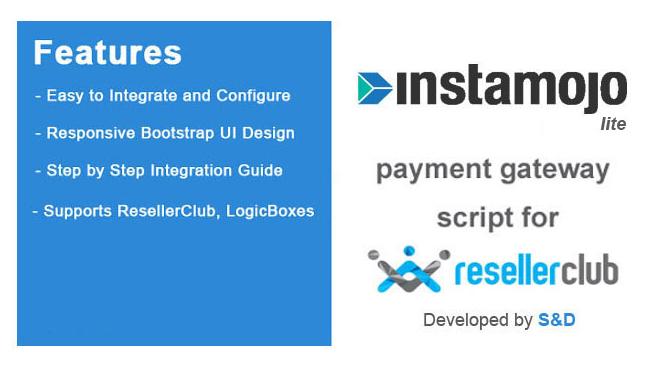 ResellerClub Instamojo Payment Gateway PHP Script (LITE Version)