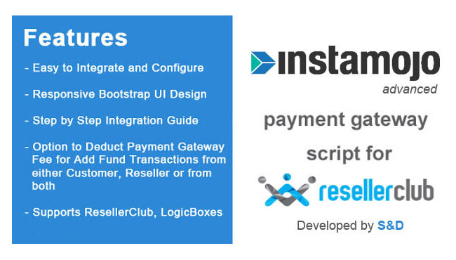 ResellerClub Instamojo Payment Gateway PHP Script