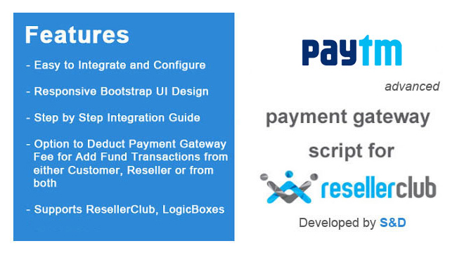 ResellerClub Paytm Payment Gateway PHP Script